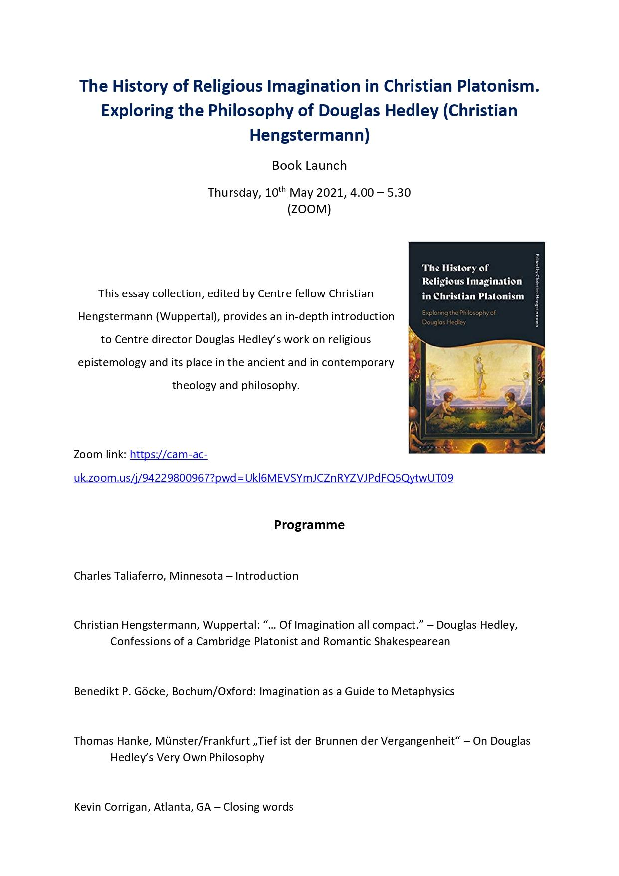 Book Launch | The History of Religious Imagination in Christian Platonism. Exploring the Philosophy of Douglas Hedley